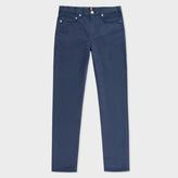 Paul Smith Men's Slim-Fit Petrol Blue Stretch-Cotton Trousers