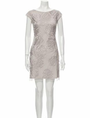 Aidan Mattox Lace Pattern Mini Dress Grey