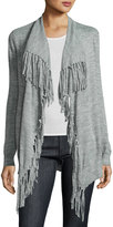 Rebecca Taylor Fringe-Trim Open-Front Cardigan, Gray
