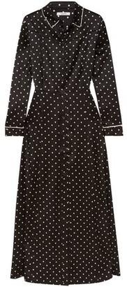 Ganni Dufort Polka-dot Silk-blend Satin Maxi Dress
