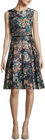 Liz Claiborne Sleeveless Floral Belted Fit-and-Flare Dress