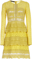 Burberry Pale Citrus Tiered Chantilly Lace Shift Dress