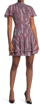 Reiss Natalie Geo Printed Mock Neck Tiered Mini Dress