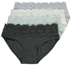George Lace Top Mini Briefs 4 Pack