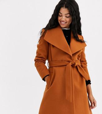 Miss Selfridge funnel neck tailored coat in tan