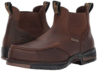 Georgia Boot Athens 5 Moc Toe Chelsea (Brown) Men's Work Boots