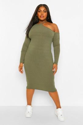 boohoo Plus Rib Cut Out Shoulder Midi Dress