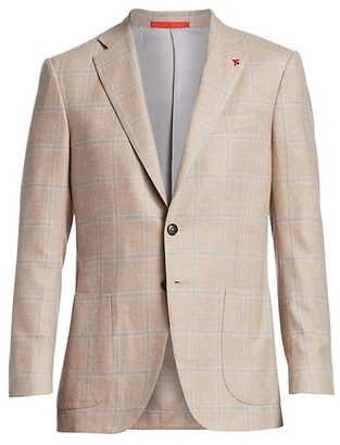 Isaia Classic-Fit Wool Cashmere Plaid Sportcoat