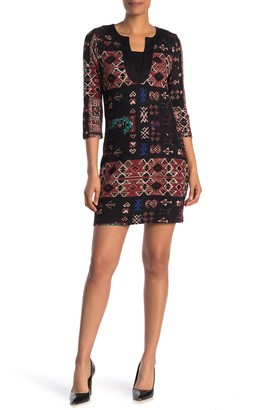 Papillon Geo Print 3/4 Sleeve Brushed Knit Mini Dress