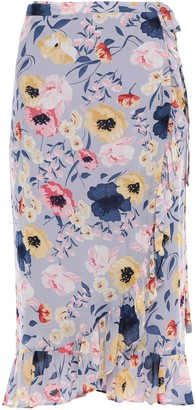 By Ti Mo Ruffle-trimmed Floral-print Crepe Wrap Skirt
