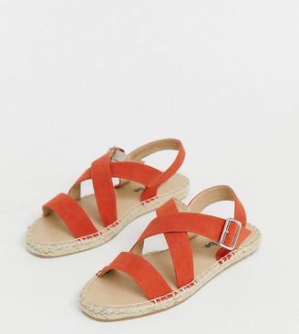 Simply Be Extra Wide Fit Simply Be espadrille in red in extra wide fit