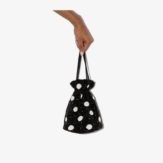 Ganni Black Beaded Polka Dot Mini Bucket Bag