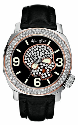 Ecko Unlimited E13524G1 Unisex Iced Skeleton Analogue Watch With Black Leather Strap and Rose Gold Accents