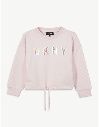 DKNY Foil logo cropped cotton sweatshirt 4-16 years