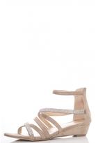 Quiz Beige Diamante Low Heel Wedges