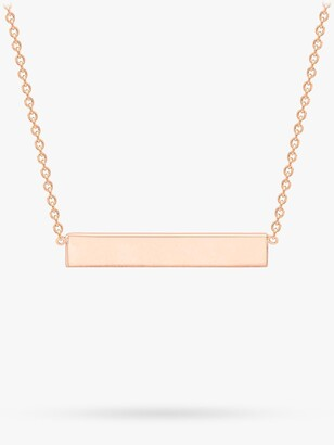 IBB Personalised Small Horizontal Bar Initial Pendant Necklace, Rose Gold