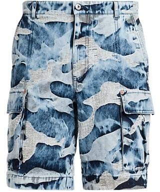 Valentino Distressed Camo Cargo Jean Shorts