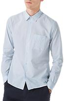 Jigsaw Italian Stripe Pocket Cotton Linen Shirt, Blue