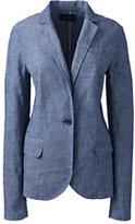Classic Women's Petite Chambray Blazer-True Blue Multi Stripe