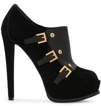 Louis Vuitton Pre-Owned Decorative Buckles Peep Toe Booties