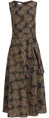 Akris Punto Desert Flower Sleeveless Jacquard Midi Dress