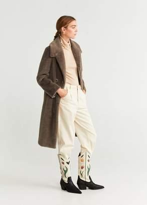 MANGO Pocketed faux-fur coat medium brown - XXS - Women
