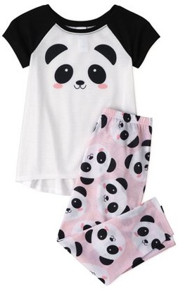 The Children's Place The Childrens Place Girls Short Sleeve Panda 2-Piece Pajama Set, Sizes 4-16