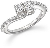 Bloomingdale's Diamond Two Stone Ring with Pavé Ring in 14K White Gold, .75 ct. t.w.
