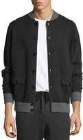Neiman Marcus Cotton-Cashmere Baseball Cardigan, Black/Derby Gray