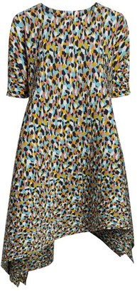 Issey Miyake Colorful Bits Short-Sleeve Garment Pleated Dress