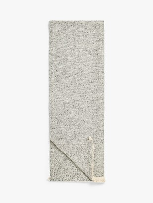 John Lewis & Partners Frayed Edges Cotton Mix Table Runner, Black/Natural, L200cm