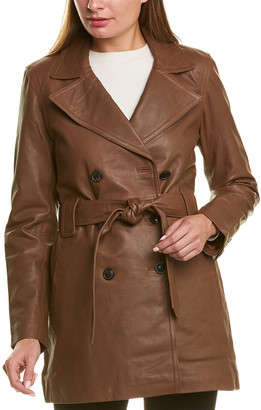 Badgley Mischka Double-Breasted Leather Coat
