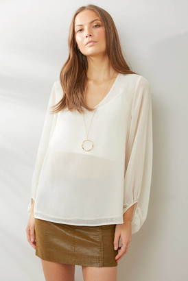 Abbeline Cinched Wrist Blouse Ivory XS