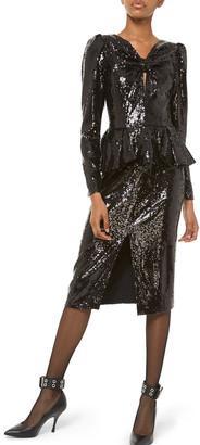 Michael Kors Sequined Long-Sleeve Peplum Dress