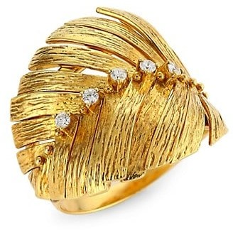 Hueb Bahia 18K Yellow Gold & Diamond Feather Ring