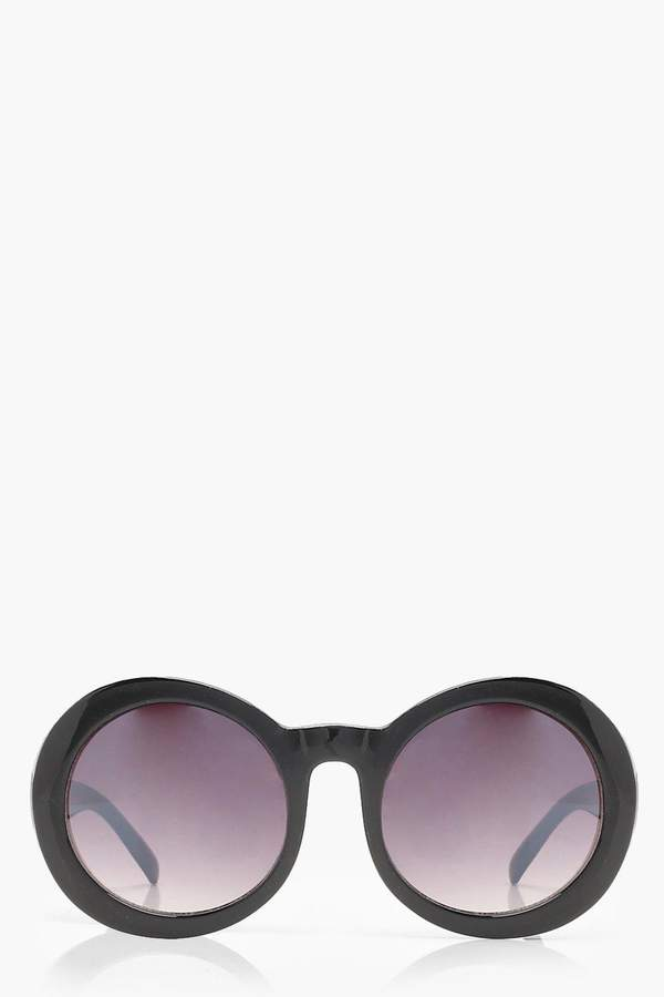 boohoo Black Oversized Retro Round Sunglasses
