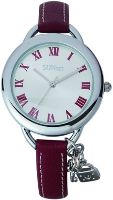 Sunset2559Ladies WatchSilver Dial Red Leather Strap