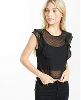Express ruffled sleeveless cropped top