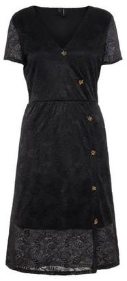 Dorothy Perkins Womens ** Vero Moda Black Lace Button Wrap Dress, Black