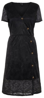 Dorothy Perkins Womens Vero Moda Black Lace Button Wrap Dress, Black