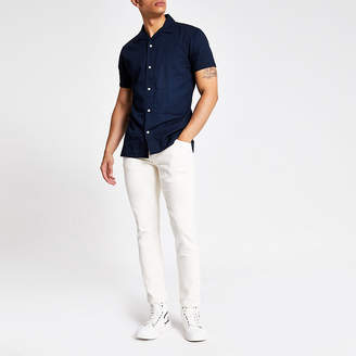 River Island Selected Homme blue denim short sleeve shirt