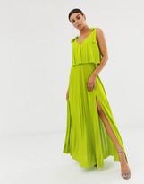 Asos Design DESIGN tie shoulder pleated crop top maxi dress