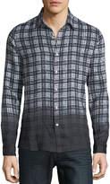 Michael Kors Men's Dip-Dyed Madras Plaid Linen Button-Down Shirt