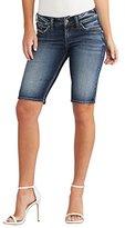 Silver Jeans Women's Elyse Eased Curve-Fit Mid-Rise Bermuda Dark Wash Short