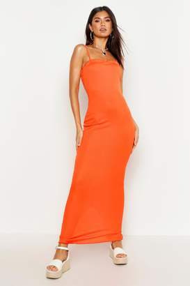 boohoo Rib Lettuce Edge Maxi Dress