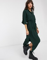 Weekday Cat shirt dress in green
