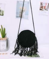 Fee Et Rit Fee et rit Women's Crossbodies Black - Black Tassel-Accent Woven Round Crossbody Bag