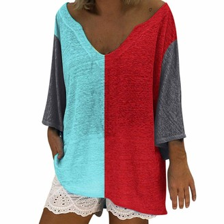 Doldoa Women Shirts Women's Plus Size T-Shirt Sale Casual Long Sleeve Color Block Patchwork Loose Tops for Women(Red 3 3XL)