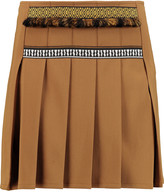 Etro Pleated embroidered crepe mini skirt