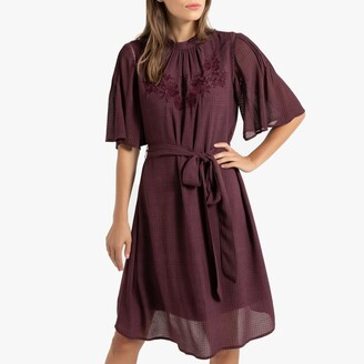 La Redoute Collections Floral Embroidered Midi Dress with Tie-Waist and Short-Sleeves